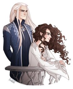 Thranduil and Rîneth from the fanfiction Stars of Varda.... Art is byhttp://hatteeho.tumblr.com/ Fanfiction can be read here. https://www.wattpad.com/story/63254442-stars-of-varda-an-elven-love-story-thranduil