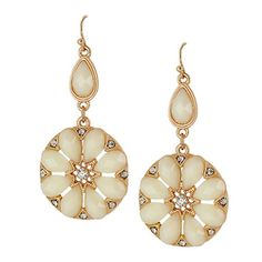 Stone Deco Flower Motif Casting Drop Earrings [ECE13038MGIV] : Wholesale24x7.com - Fashion Scarves and Accessories Wholesale, One Stop Wholesale Shopping for Scarves, Jewelry and Fashion Accessories!