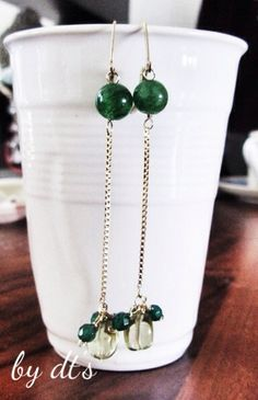 #simplypretty #thread #gold #earrings with #jade #agate and #lemonquartz