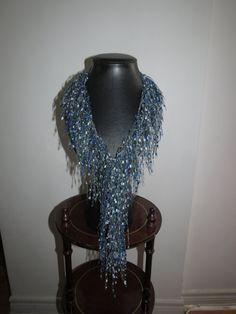 Sparkly Sky Blue Fashion Scarf Handmade by ModernFashionScarves