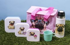 Pugs & Kisses Collection - Coolbag, Vaccum Flask and Set of Three Lunch Boxes #pug #accessories #giftware