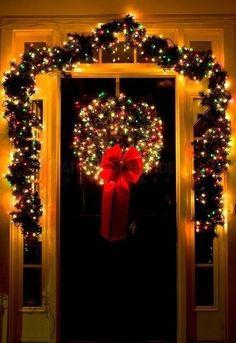 MERRY CHRISTMAS! Christmas Entryway, Christmas Front Doors, Christmas Town, Christmas Porch, The Night Before Christmas, Merry Little Christmas, Winter Christmas, Christmas Wreaths, Decorating With Christmas Lights