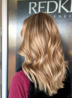 Balayaged & highlighted caramel blonde long hair