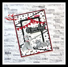 Today's design from For The Love Of Stamping features the Playful Pets stamp set & DSP as well as the Stitched Triangle dies from Stampin' Up! All the details are on my blog listed below Dog Cards, Kids Cards, Birthday Cards For Men, Cat Grooming, Animal Cards, Plastic Canvas Patterns, Greeting Cards Handmade, Stampin Up Cards, Scrapbooking