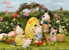 Happy Easter from Sylvanian. Sylvanian Families, Bunny Toys, Little Critter, Lilo And Stitch, Cute Dolls, Dollhouse Miniatures, Christmas Ornaments, Holiday Decor, Crafts