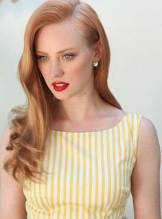 Strawberry blonde hair color for vintage hair  http://www.hairstylo.com/2015/07/strawberry-blonde-hair.html