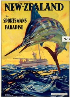This poster was created by artist Harry Rountree in the and the image was also used in a series of tourist stamps issued around It was probably part of a promotional drive by the New Zealand Government Publicity Office to lure overseas anglers . Posters Australia, Bay Of Islands, Tourism Poster, Retro Poster, Kiwiana, Vintage Florida, New Zealand Travel, Illustrations, Vintage Travel Posters
