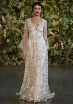 How romantic is this 'Michaela' gown. The long sheer sleeves add to the dreamy quality of the dress. Claire Pettibones new collection for 2015