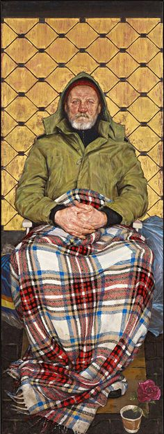 """Thomas Ganter, Man with a Plaid Blanket, 2014, oil on canvas, the winning portrait from this year's BP Portrait Awards. a depiction of a homeless man from Frankfurt named Karel.  Ganter has said of the work: 'By portraying a homeless man in a manner reserved for nobles or saints, """"I tried to emphasize that everyone deserves respect and care. Human dignity shouldn't be relative, or dependent on socioeconomic status.'"""