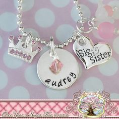 This charm necklace comes embellished with coordinating beads (may vary slightly) and also includes a inch nickel silver disk personalized Little Girl Jewelry, Little Girl Gifts, Girls Jewelry, Big Sister Kit, Hand Gestempelt, Pink Crown, Hand Stamped Jewelry, Sister Gifts, Baby Love