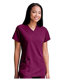 2eff87444a4 Jockey Women's Scrubs V-Neck Crossover Scrub Top Plum Berry 3XL #fashion  #clothing
