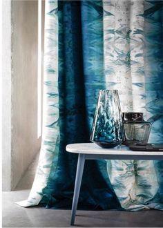 beautiful blues & white Victoria digital print by Casamance at Maison & Objet 2016 Paris Hallway Curtains, Cute Curtains, Modern Curtains, Curtains With Blinds, Window Curtains, Curtain Styles, Curtain Designs, Curtain Ideas, Rideaux Design