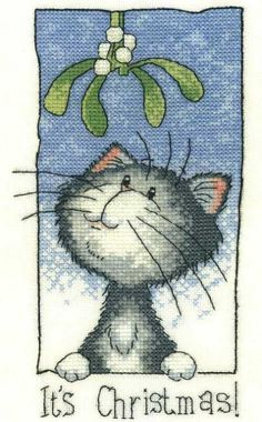 It's Christmas - Cats Rule Counted Cross Stitch Kit Aida Xmas Cross Stitch, Cross Stitch Cards, Counted Cross Stitch Kits, Cross Stitch Embroidery, Cross Stitch Designs, Cross Stitch Patterns, Heritage Crafts, Christmas Cross, Christmas Charts