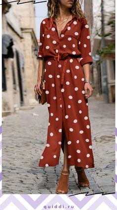 [£ PolkaDot Long Sleeves A-line Casual/Elegant Maxi Dresses - VeryVoga Day Dresses, Dress Outfits, Casual Dresses, Polka Dot Maxi Dresses, Floral Maxi Dress, Elegant Maxi Dress, Spring Skirts, Maxi Robes, Pinterest Fashion