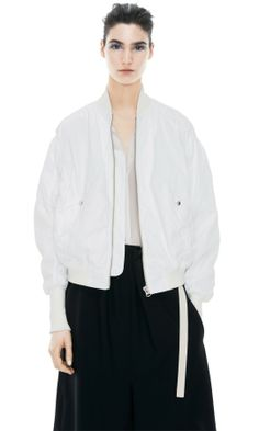 ACNE // Halee Optic White Bomber Jacket