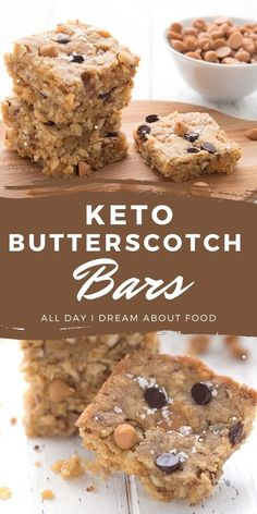 Low Carb Sweets, Low Carb Desserts, Low Carb Recipes, Keto Chocolate Chip Cookies, Keto Cookies, Chocolate Chips, Ketogenic Desserts, Keto Snacks, Butterscotch Bars