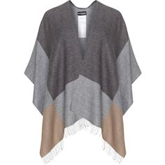 Samoon Grey / Beige Plus Size Checked fringe cape (57625 IQD) ❤ liked on Polyvore featuring outerwear, plus size, grey, plus size cape coat, grey cape coat, samoon, fringed cape and cape coat
