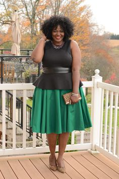 The color combination is great.  I would pick a slimmer skirt for me, but this looks great on her.
