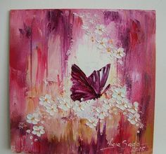 Purple Butterfly Original Impasto Oil Painting White Flowers Europe Artist Board #Impressionism