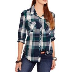 Faded Glory Women's Button Front Plaid Shirt with Roll Cuff Detail, Size: Medium, Multicolor