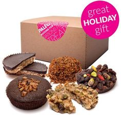 Paleo Treats Gift Box: Looking for an awesome Paleo gift?  Your search ends here!  With a combo pack of the Bandito, Brownie Bomb, Cacao Now, Mac Attack, and Mustang Bar, your Paleo peeps are sure to dig this awesome batch of paleo desserts.   More info:
