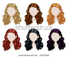 Set of woman hair style sprites. Vector design of beautiful variegated collection of female hairdo
