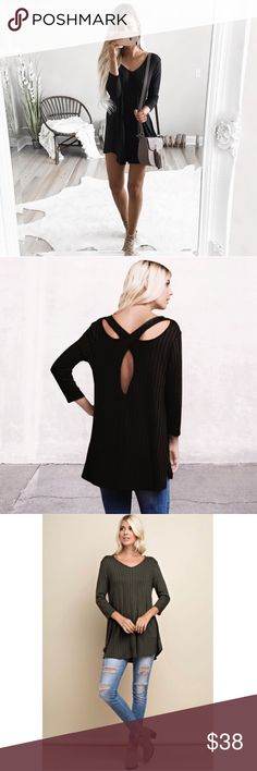 Last One❣️Black Crisscross Back Tunic BLACK Rib Knit Tunic Crosscross Open Back Top. 3/4 sleeve top with back  crisscross detailing to bring a unique cutout detailing. This top is easy to pullover and was made with a rib knit, stretchy and comfortable fabrication. No Trades. Price is Firm Unless Bundled. 2 Items 10% Off 3 Items 15% Off  Fabric 95% Rayon 5% Spandex Made in U.S.A GlamVault Tops Tunics