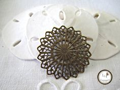 SAVE 10% use coupon code PIN10 Vintage look antique oxidized #brass #filigree round, great for many different jewelry designs.  Quantity: 1  Size: 31mm    ITEM#: FDFL4-V3-15    Please stop by my other Etsy...