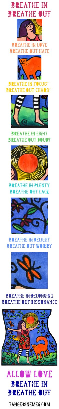 Breathe in. Breathe out. Bold, tall, lino-print-illustrated reflections   New post: Bold Living #20   Bold Art for Bold Souls   tangerinemeg.com