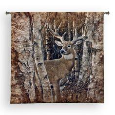 "Birchwood Buck #Deer Tapestry Wall Hanging by #Collin Bogle 52"" x 50"" #Art #BeddingNMore #Cabin #Lodge #Home #Decor #Decorating"