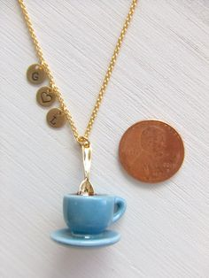 Coffee Cup Saucer Jewelry Necklace Hot Chocolate by LycheeKiss