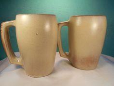 Frankoma Mugs- 2 Vintage Plainsman Frankoma 5M Pottery Mugs 16oz by SETXTreasures on Etsy