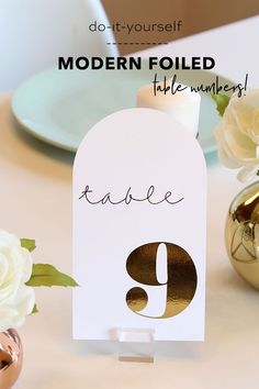 You don't want to miss these ADORABLE DIY Modern Foiled Table Numbers! Wedding Scene, Diy Wedding, Wedding Ideas, Wedding Stationery, Wedding Invitations, Creative Wedding Inspiration, Table Cards, Table Numbers, Wedding Trends
