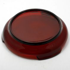 This rich, ruby red, vintage glass punch bowl base was produced by Anchor Hocking and is part of their Royal Ruby Punch Bowl Set. The Royal Ruby