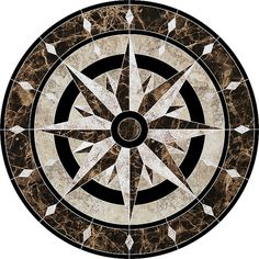 Compass Medallion Porcelain Swimming Pool Mosaic x Foyer Flooring, Granite Flooring, Floor Patterns, Tile Patterns, Mosaic Glass, Mosaic Tiles, Tile Design, Floor Design, Swimming Pool Mosaics