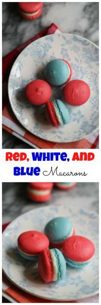 Macarons get PATRIOTIC! Red and blue shells sandwich vanilla buttercream in these red, white, and blue macarons.