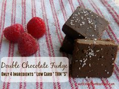 Low Carb Chocolate Fudge - Double chocolate, amazing, protein-packed fudge that only uses four ingredients! Easy and delicious - THM S.