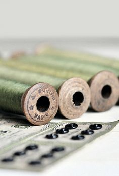 Green thread and VIntage spools