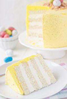 Coconut Lemon Layer Cake (Easter Speckled Egg Cake)