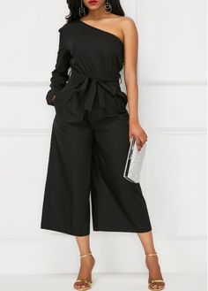 Black Belted One Shoulder Pocket Jummpsuit