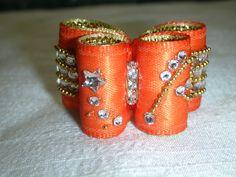 Noeud double coques 6/8 orange et doré cristaux Swarovski : Animaux par…