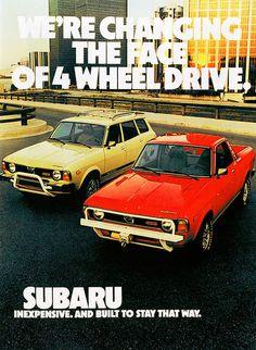 Subaru automobile - Vintage Car Advertisements of the (Page Subaru Impreza, Subaru Forester, Advertising Pictures, Car Advertising, Honda S2000, Honda Civic, Vintage Advertisements, Vintage Ads, Subaru Cars