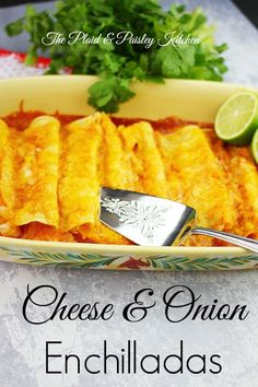 Cheese and Onion Enchiladas The Plaid & Paisley Kitchen ~Just like a Mexican restaurant. Now in your kitchen! This would be a great addition to any Mexican Meal Mexican Cooking, Mexican Food Recipes, Great Recipes, Vegetarian Recipes, Dinner Recipes, Cooking Recipes, Favorite Recipes, Dinner Ideas, Cheese And Onion Enchilada Recipe