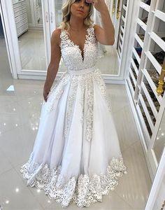 2017 formal A-line v-neck White long princess prom dress, PD6570