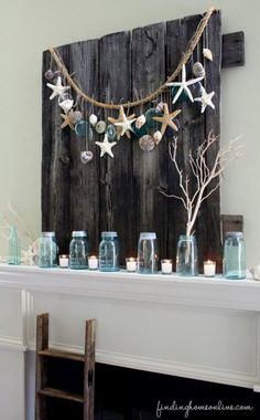 Pallet transformed into beach house art – this would be nice for Christmas! Pallet transformed into beach house art – this would be nice for Christmas! Handmade Home Decor, Cheap Home Decor, Diy Home Decor, Room Decor, Seashell Projects, Seashell Crafts, Seashell Garland, Diy Projects, Pallet Projects