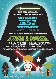 The force is strong with this one! Invite your guests with this Star Wars themed Baby Shower or Birthday Party invitation by LoloLucy on Etsy. https://www.etsy.com/shop/lololucy