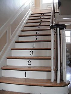 I love the idea of sayings or quotes on stairways, and this is a cute idea as well