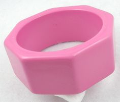 Pink Plastic Octagonal Bangle Bracelet - Garden Party Collection Vintage Jewelry