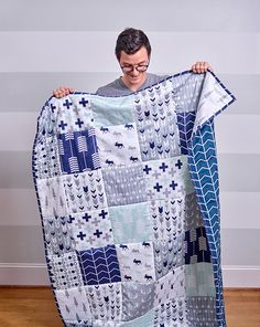 """This. Is. AMAZING. Choose your designs and have Spoonflower custom-print you the fabric... with 9"""" squares of each pattern!! All you have to do for this """"cheater quilt"""" is the quilting -- ZERO SEAMING."""