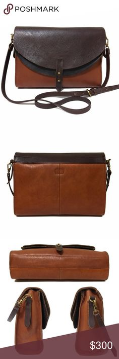 """❤️ Madewell Essex Bag in Chocolate, Saddle, Black A hard to find, cult favorite among Madewell lovers, this bag is the perfect daily crossbody. Big enough to hold an iPad and your essentials, but still small enough to carry anywhere, hands free thanks to the long crossbody strap. Please make sure you look at all of the pictures; this bag does show some wear, including some minor scuffs and a very small pen mark on the bottom. Overall great condition.  Approximately 11""""w x 8.5""""h x 3.5""""d  ❌…"""